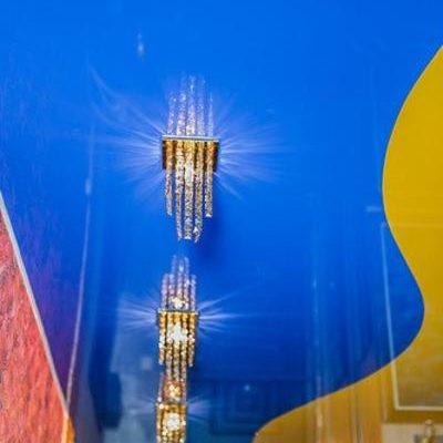 желто-синий натяжной потолок
