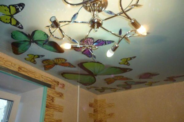 натяжной потолок с бобочками 3