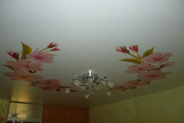 натяжной потолок с цветами вид 2