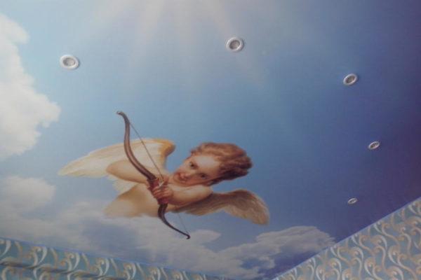 натяжной потолок с ангелом вид 2