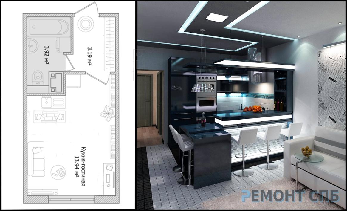 Дизайн квартиры студии – идеи для интерьера | Прораб НЕВА | 706x1164