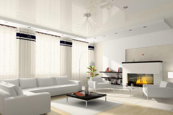 модель гостиной с натяжным потолком
